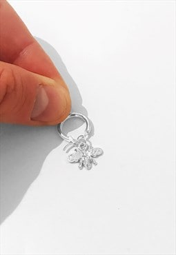 Manchester Bee Insect Hoop Earring - Silver