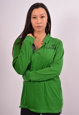 Vintage Napapijri Polo Shirt Long Sleeve Green