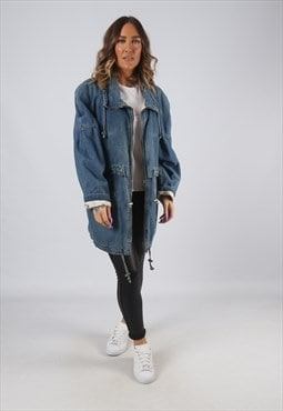 Denim Jacket Print Lined Long Oversized Longline UK 14 (HK7W