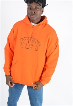 Hoodie in Orange with Outline Logo .