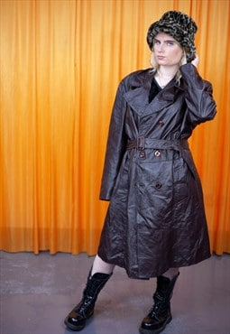 Vintage 70s Trench Coat Brown Leather With Belt Winter