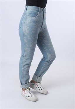 High Waisted Denim Jeans Tapered Leg Vintage UK 8 (F95I)