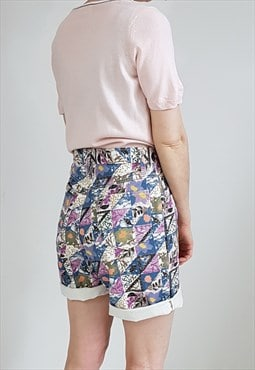 Vintage 90's Purple Floral Graphic Print Denim Shorts