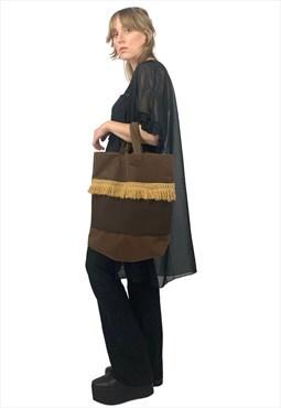 Vintage 70s Boho Hippie Fringed Brown Colourblock Tote Bag