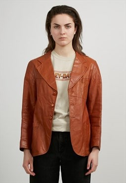 Vintage Brown Faux Leather Jacket