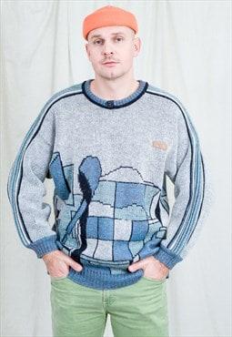 Retro sweater wool jumper 80s vintage gray blue men XL/XXL