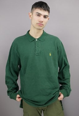 Vintage Ralph Lauren Rugby Shirt in Green with Logo