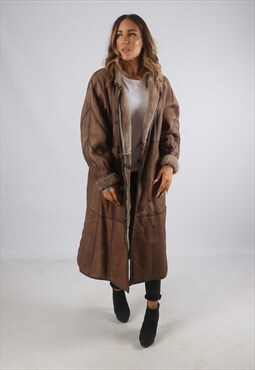Vintage Sheepskin Leather Shearling Coat Long UK 14 (9BN)