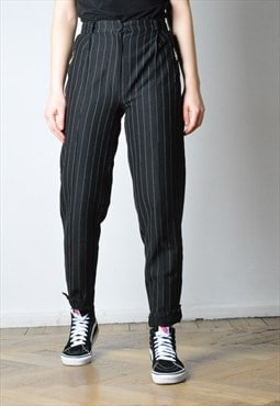 Vintage 90s White Striped Black Pants