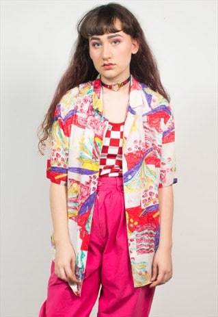 VINTAGE 90'S PINK ABSTRACT PATTERN SHIRT