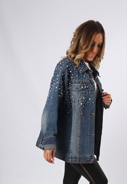 Denim Jacket LONG Beaded Oversized Fitted UK 18 - 20  (ED3E)