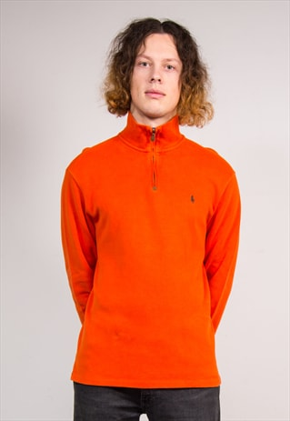 90'S ORANGE RALPH LAUREN PULLOVER QUARTER ZIP  SWEATSHIRT