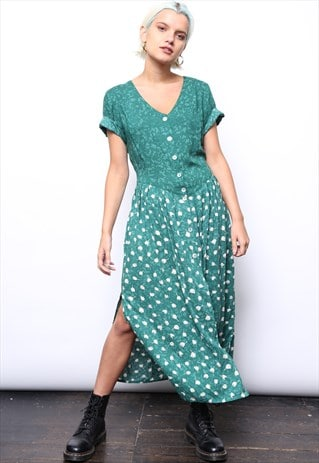 VINTAGE 90S GREEN FLORAL PRINT BUTTON MIDI DRESS