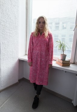 Vintage 70's Pink Abstract Print Midi Dress