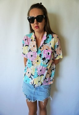 Vintage Top Blouse Shirt Boho Shirts Hippie Retro Floral