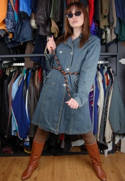 Vintage Y2K DENIM Flares rave long oversized coat jacket