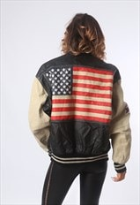 Leather Bomber Jacket MICHAEL HOBAN USA UK 14  (C5AX)