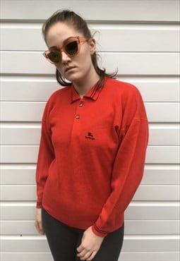 Womens Vintage 80s Burberry Jumper red wool sweater
