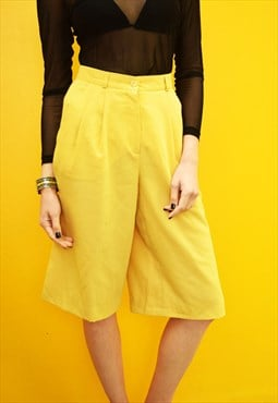 90's retro high waisted yellow classy festival shorts