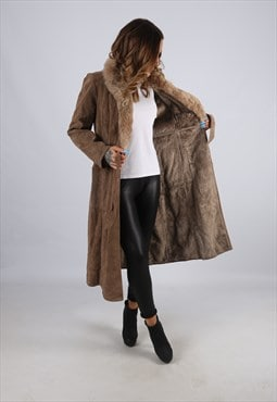Vintage Suede 'Sheepskin Style' Coat Mid Long UK 8 XS (LJ2J)