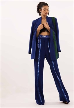 FKNS Blue Flared Pant with Sequins