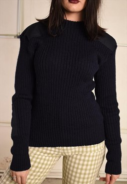 90's retro wool military style navy blue knit jumper