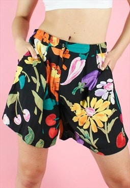 Vintage 90s Shorts Floral Y2K Black Wide Leg Flower