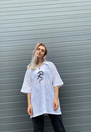 VINTAGE 90S WHITE DRAGON SHIRT