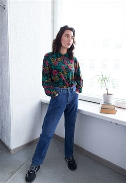 Vintage 80's Blue High Waisted Straight Jeans