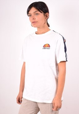Ellesse Womens Vintage T-Shirt Top Small White 90s