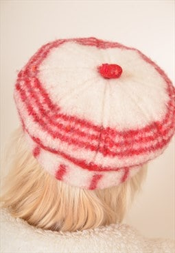 Vintage Wool Patterned Hat in Cream and Red