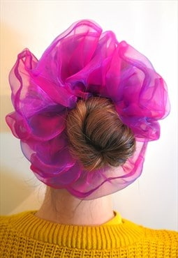 Mermaid Two tone Pink Blue Extra Large Organza Scrunchie