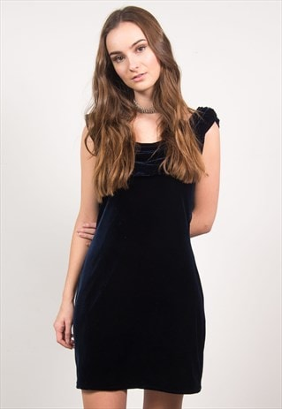 da2f04baac8f Vintage 90's Navy Blue Velvet Mini Dress | The Vintage Scene | ASOS ...
