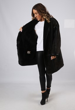 Sheepskin Suede Leather Shearling Coat UK 20 XXXL  (KJ2I)