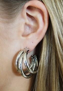 Silver triple hoop earring