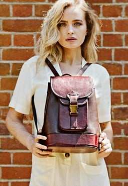 MYA BROWN - Quality Full Leather Backpack
