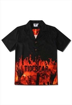 Kalodis flame digital print shirt