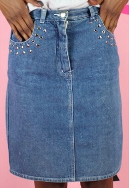 Vintage 90s Denim Skirt Midi Y2K Blue w/ Metal Eyelet Detail