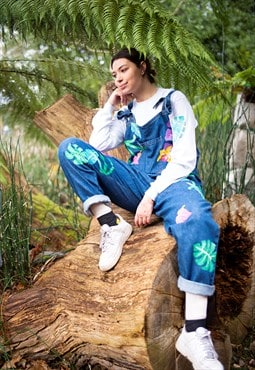 Hand Painted Tropical Dungarees, Organic Denim