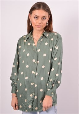 Vintage Benetton Shirt Polka Dot Green