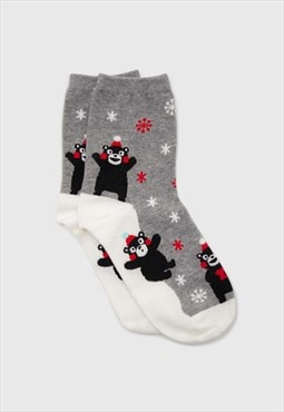 Grey snow slide black bear xmas socks