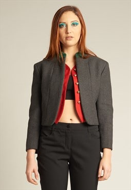 Vintage Moschino Grey/red/green cropped blazer