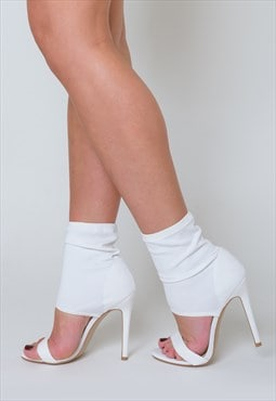 Frankie Cuff Stiletto Heels in White Lycra