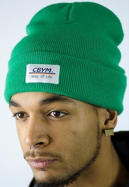 Green beanie with cbym embroidered patch