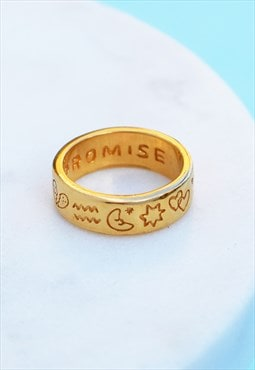 Gold Pinky Promise Motif Ring Mood Good X Holly St Clair