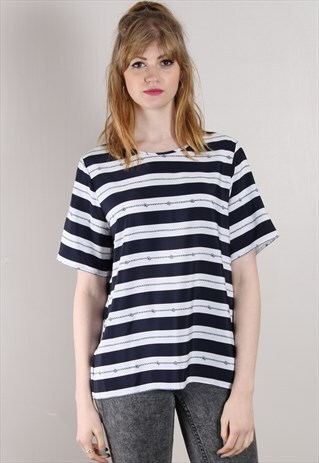 VINTAGE 90S NAUTICAL STRIPED LOOSE FIT TOP