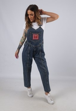 Vintage GUESS Denim Dungarees Tapered PETITE UK S 10 (K4E)