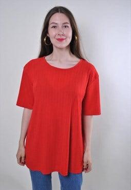 Women vintage red oversized plaid minimalist tshirt