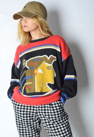 VINTAGE 80S COLOURFUL EGYPTIAN JUMPER