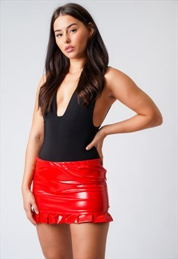 PVC Red High Waist Frilled Mini Skirt